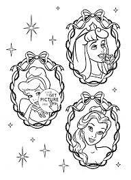 three disney princesses face coloring page for kids disney
