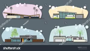 vector mid century houses set modern stock vector 520104034