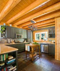 Log Home Kitchen Ideas by Gastineau Log Homes For A Rustic Kitchen With A Pendant Lights And
