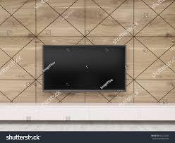 close tv set on wooden wall stock illustration 492270292
