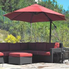 11 Ft Offset Patio Umbrella Galtech Sunbrella Easy Tilt 11 Ft Offset Umbrella With Wheeled