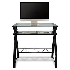 Black Computer Desk With Hutch by Bello Glass Top Computer Desk High Gloss Black Hayneedle