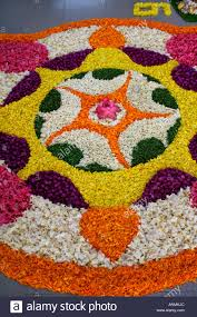 a traditional kerala style floral decoration during the festival