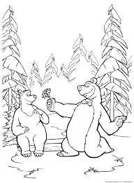 coloring bear gives a flower u0026 raquo coloring for kids print