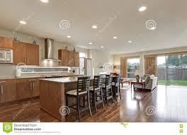 bright modern kitchen bright modern open plan kitchen room interior stock photo image