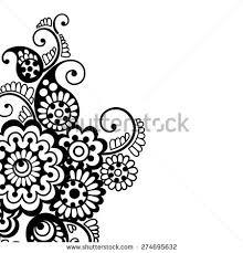 black flower corner lace ornament stock vector 275311601
