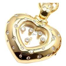 necklace with watch pendant images Chopard happy diamond yellow gold heart shape watch pendant jpg