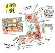 an illustrated map inside shakespeare and company u2014 june letters