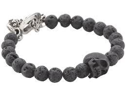 beaded bracelet ebay images Lyst king baby studio lava rock bead bracelet with jet skull in jpeg