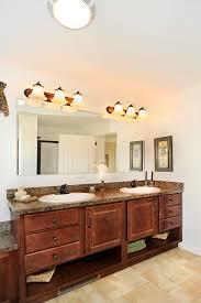 rustic brown stained oak wood narrow bathroom vanity with open