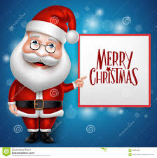 3d realistic santa claus cartoon character showing merry christmas