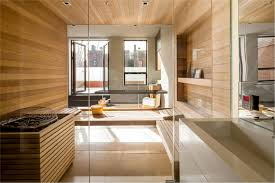 wooden laminate wall decoration with shower cabin and glass walls