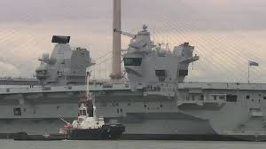 Queen Elizabeth Shooting Hms Queen Elizabeth Squeezes Out Of Dockyard For The First Time
