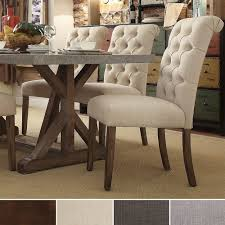 Fabric Dining Chair Low Back Armrests Tribecca Home Benchwright Button Tufts Upholstered Rolled Back