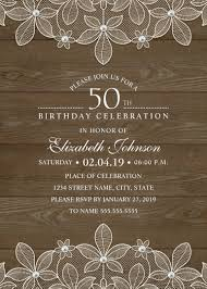Invitation Cards For 50th Birthday Party Country Wood 50th Birthday Invitations Lace And Pearls Party