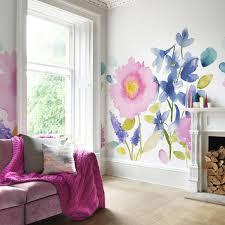 florrie mural wallpaper floral wallpaper bluebellgray