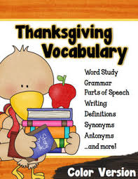 thanksgiving vocabulary activities color version vocabulary