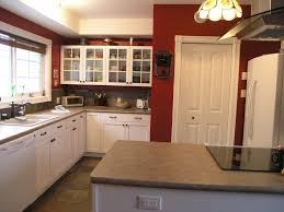 Red Kitchen With White Cabinets Chic Tiffany Pendant Lamp Demonstrated Grey White Pantry Cabinets