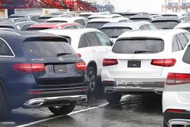 mercedes subsidiaries cars from german manufacturer mercedes stand in the port of