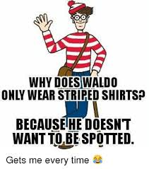Waldo Meme - why does waldo because he doesnt want to be spotted gets me every