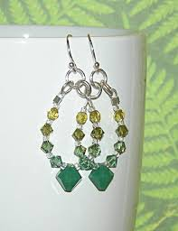 sweet and sassy earrings green ombre hoop earrings made with swarovski elements