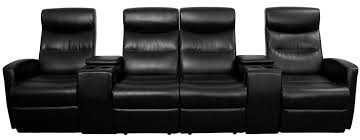 home theater console furniture black leather 4 seat home theater console recliner from renegade