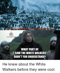White Walker Meme - what part of i saw the whitewalkers didnt you understand he knew