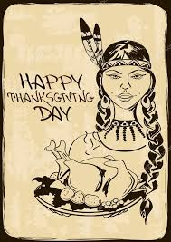thanksgiving card with american indian stock vector
