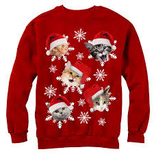 sweater walmart s sweater cat snowflakes sweatshirt walmart com