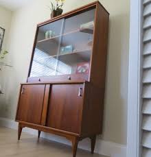 Bookcases With Sliding Glass Doors Mid Century Modern Walnut China Cabinet Hutch Sliding Glass