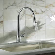 kohler kitchen sink faucet kohler simplice kitchen sink faucet with 16 5 8 pull spout