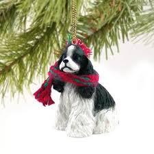 1 x cocker spaniel miniature ornament parti
