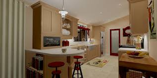 cream modern wall trailer homes with white lamp and wooden cabinet