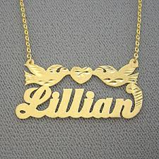 Personalized Gold Name Necklaces Personalized Gold Name Necklace With Two Birds Design Free Shipping