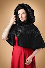 50s paige hooded velvet cape in black