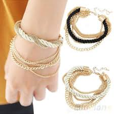 hand bracelet jewelry images Fashion jewelry elegant gold color chain braided rope multilayer jpg