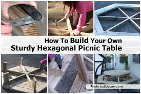 hexagonal picnic table buildeazy com jpg