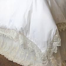 White Ruffle Duvet Lace Bed Skirt