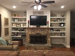 stacked rock fireplace barnwood mantel shiplap top with