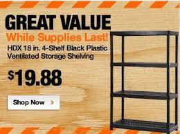 Home Depot Plastic Table Home Depot Hdx 4 Shelf Black Plastic Ventilated Storage Shelving
