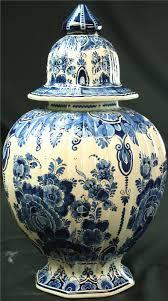 vintage large blue delft ginger jar vase hand painted flowers