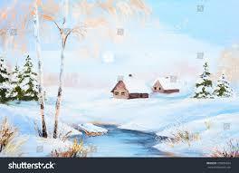oil painting winter landscape frozen river stock illustration