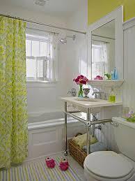 Mirror Curtain Apartments Beautiful Bright Color Small Bathroom Design Sink