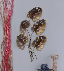 buy multicolour metal big leaf wall hanging by malik design