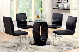 round pedestal dining room table lodia i black glass top round pedestal dining room set from