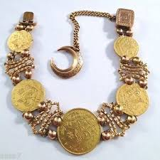 Ottoman Empire Gold Coins Custom Antique Turkish 22k Gold Coin 14 Kt Bracelet Turkey Kurush