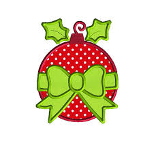 bauble and bow ornament applique machine embroidery design