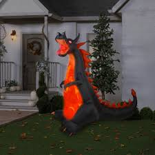 gemmy airblown inflatable 7 u0027 x 7 5 u0027 dragon with lights and