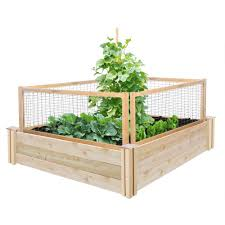 greenes fence 48 in x 48 in x 10 5 in cedar raised garden with