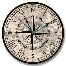 amazon com compass rose with old map pattern wall clock beachy
